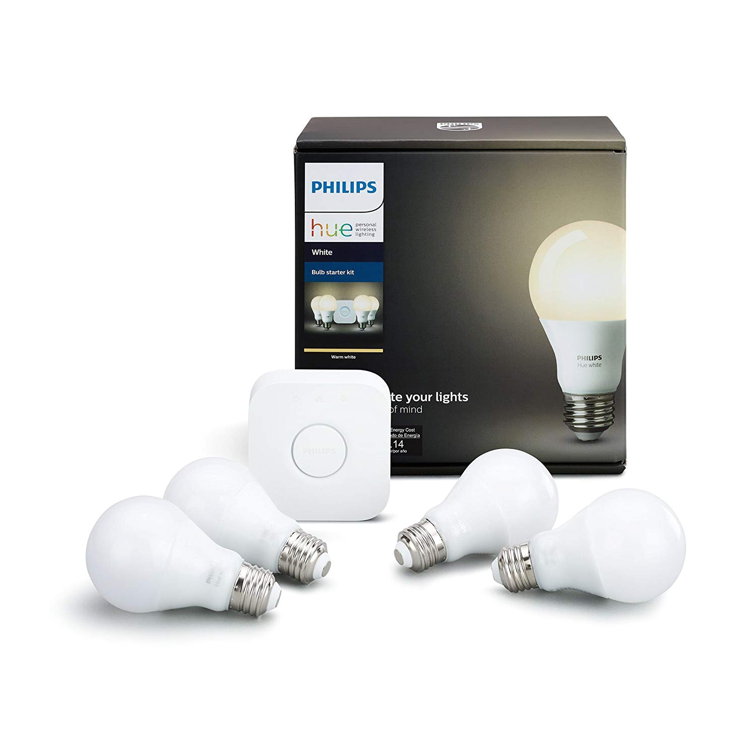 philips hue white a19 60w equivalent led smart bulb starter kit 4 a19 white bulbs and 1 hub compatible with amazon alexa apple homekit and google