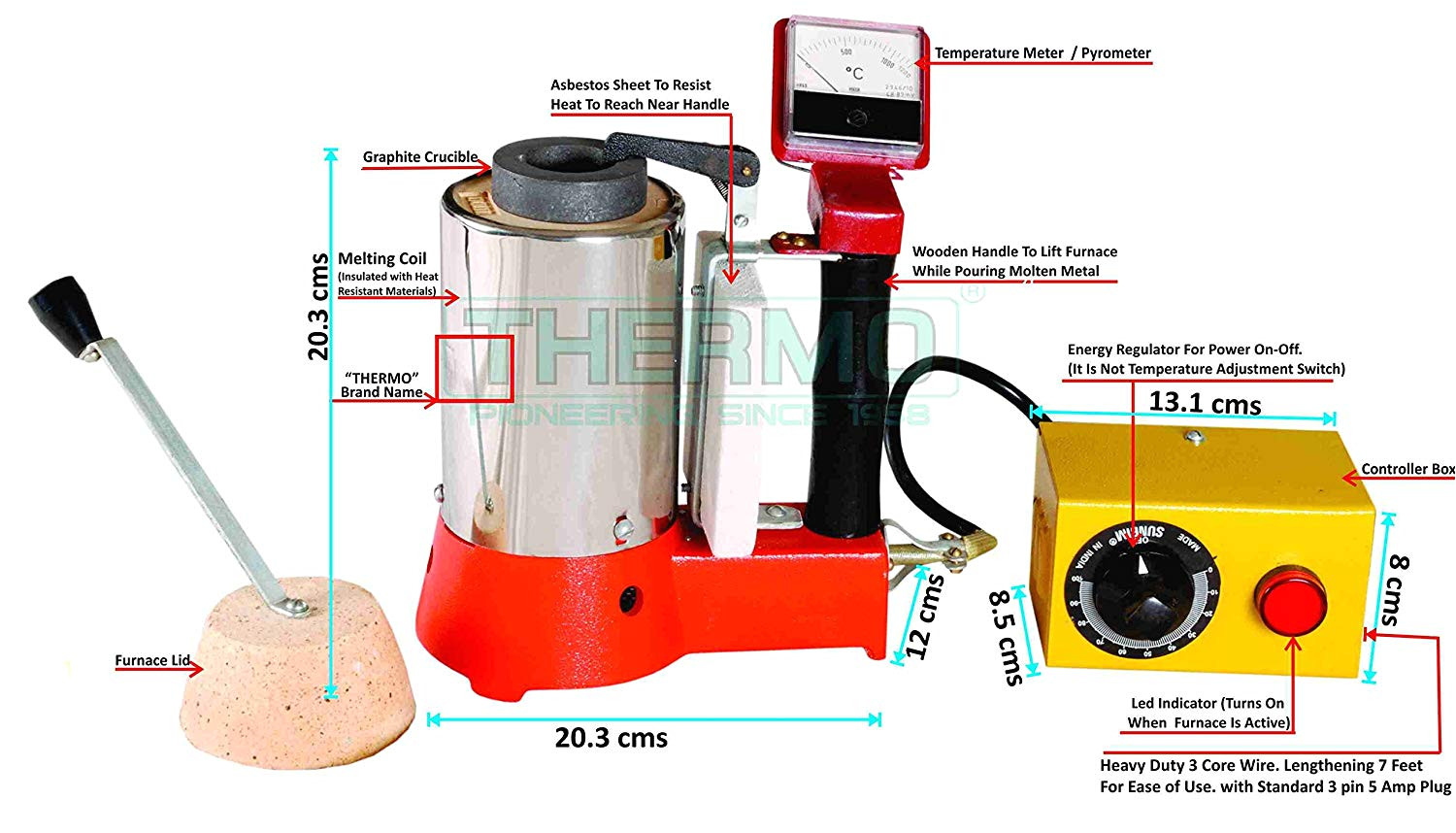 thermo tico hm 1kg handy metal melting furnace 1kg gold capacity with maximum temperature 1200 c can used to melt silver brass copper led etc