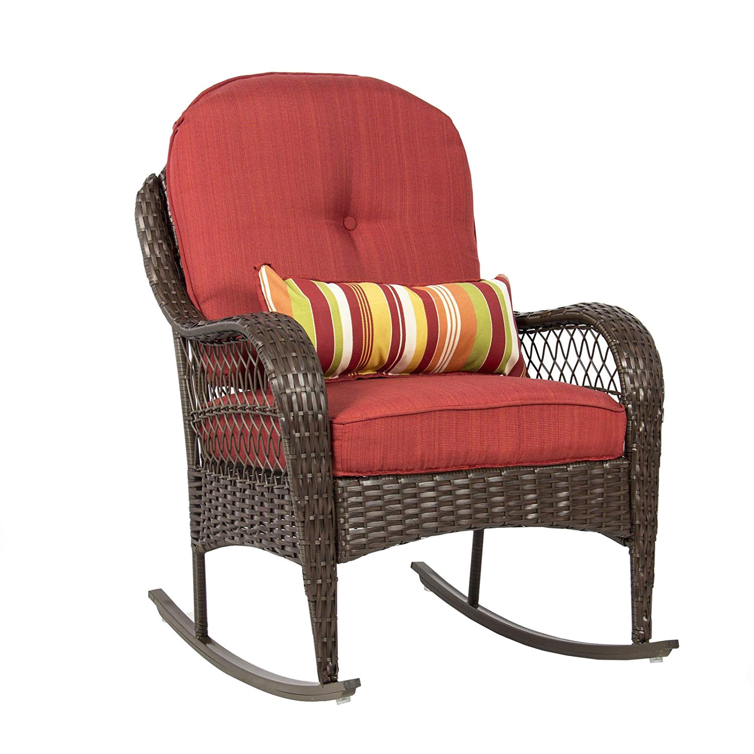 amazon com best choice products wicker rocking chair patio porch deck all weather proof w cushions garden outdoor