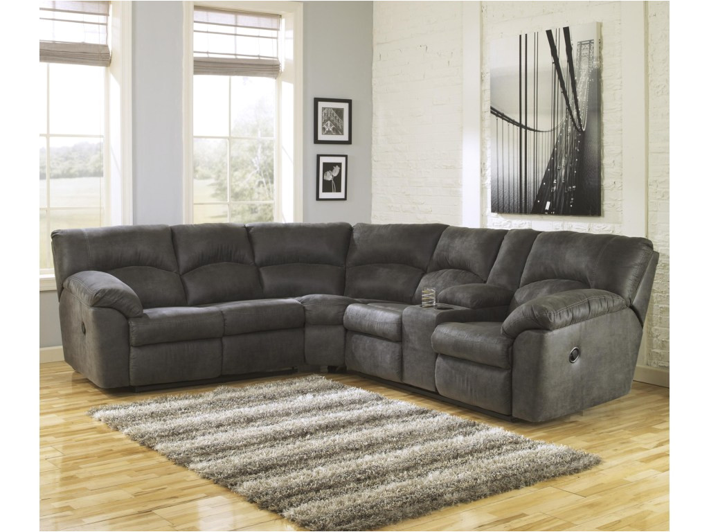 ashley signature design tambo pewter 2 piece reclining corner sectional with center console dunk bright furniture reclining sectional sofas