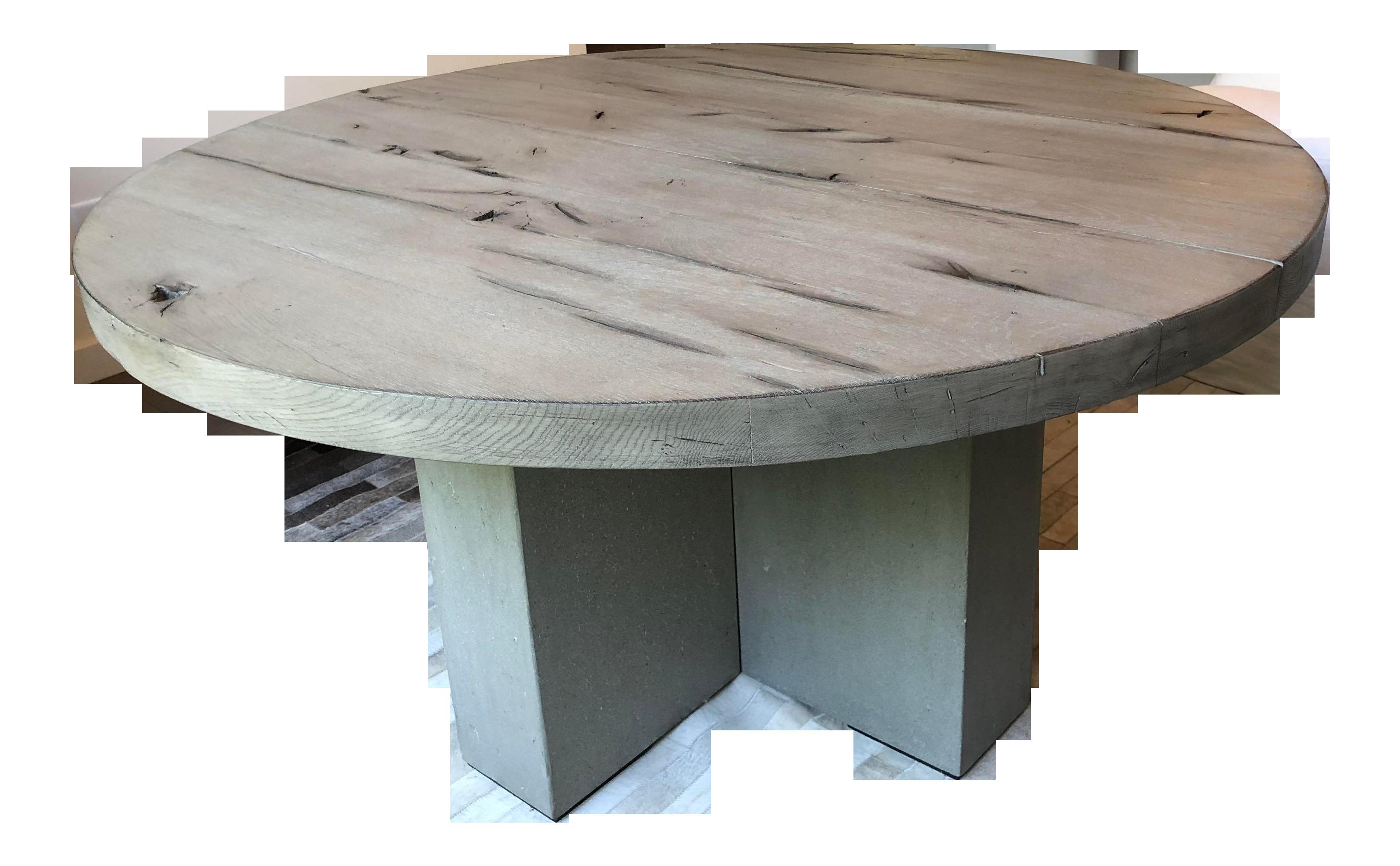 transitional restoration hardware concrete pier round dining table 2114
