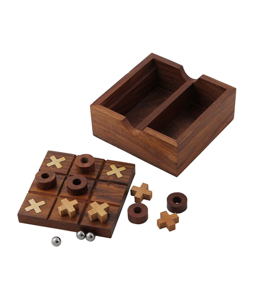 solitaire and tic tac toe wooden board game