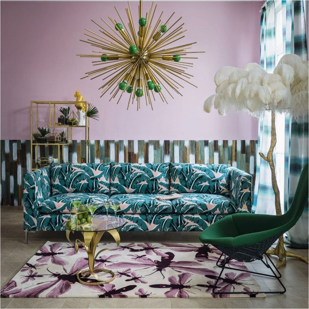 tropical print living room furniture