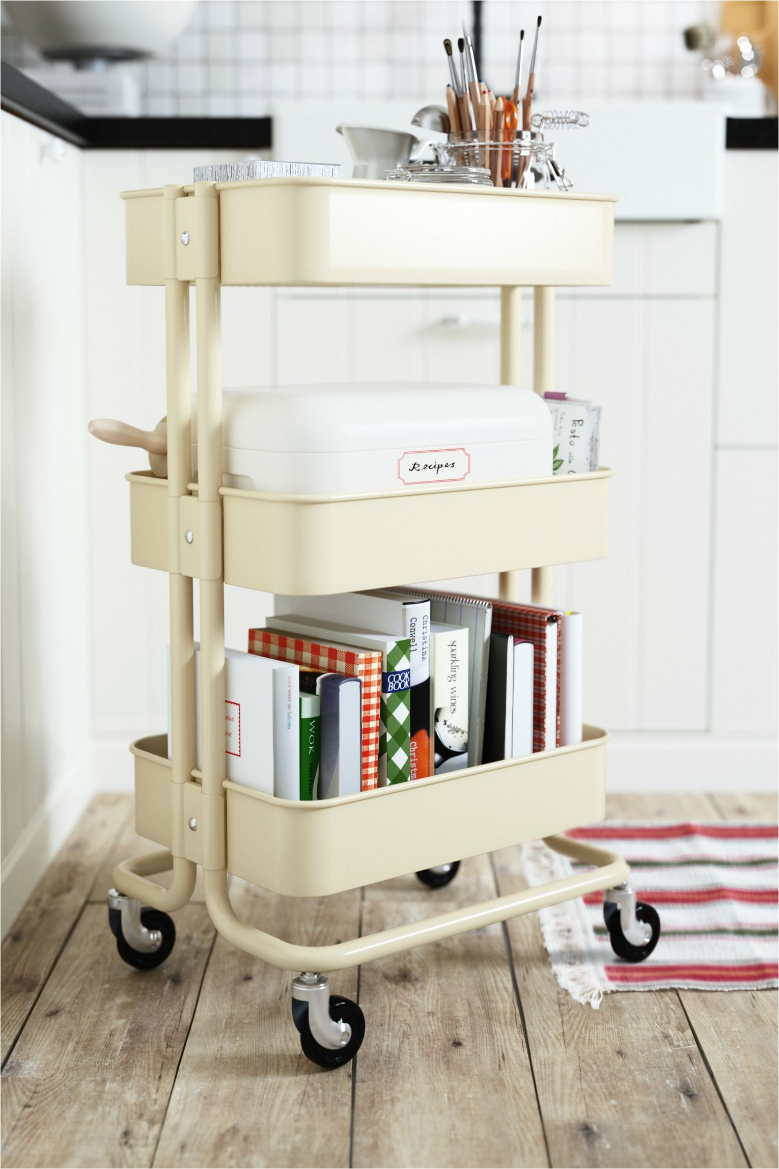 a cart with wheels like the ikea ra skog utility cart provides great storage and easy transportation for things that aren t always done in the same room