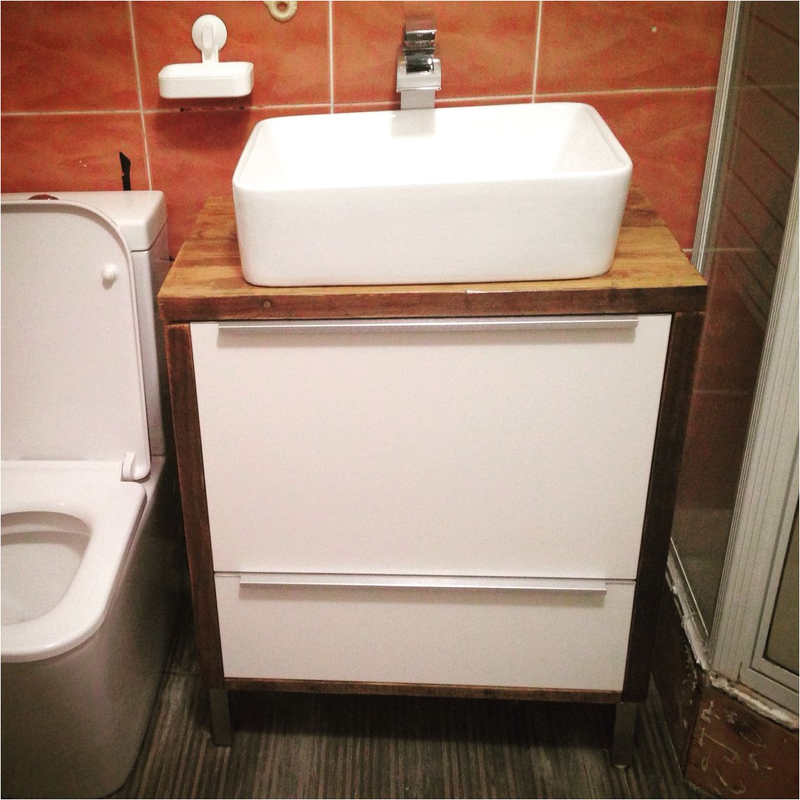 this is a metod ikea kitchen cabinet now transformed into a bathroom sink cabinet ikeahack
