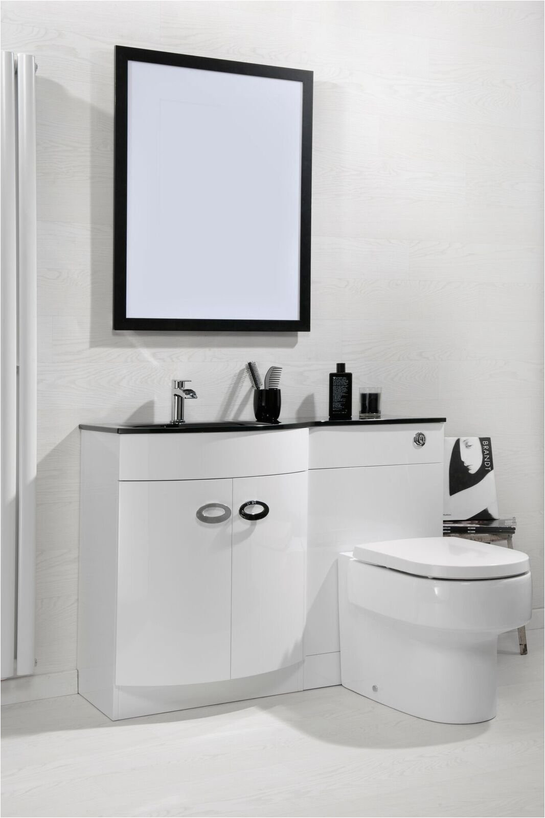 cassellie pebble d shaped combination unit with black glass style basin 1100mm wide