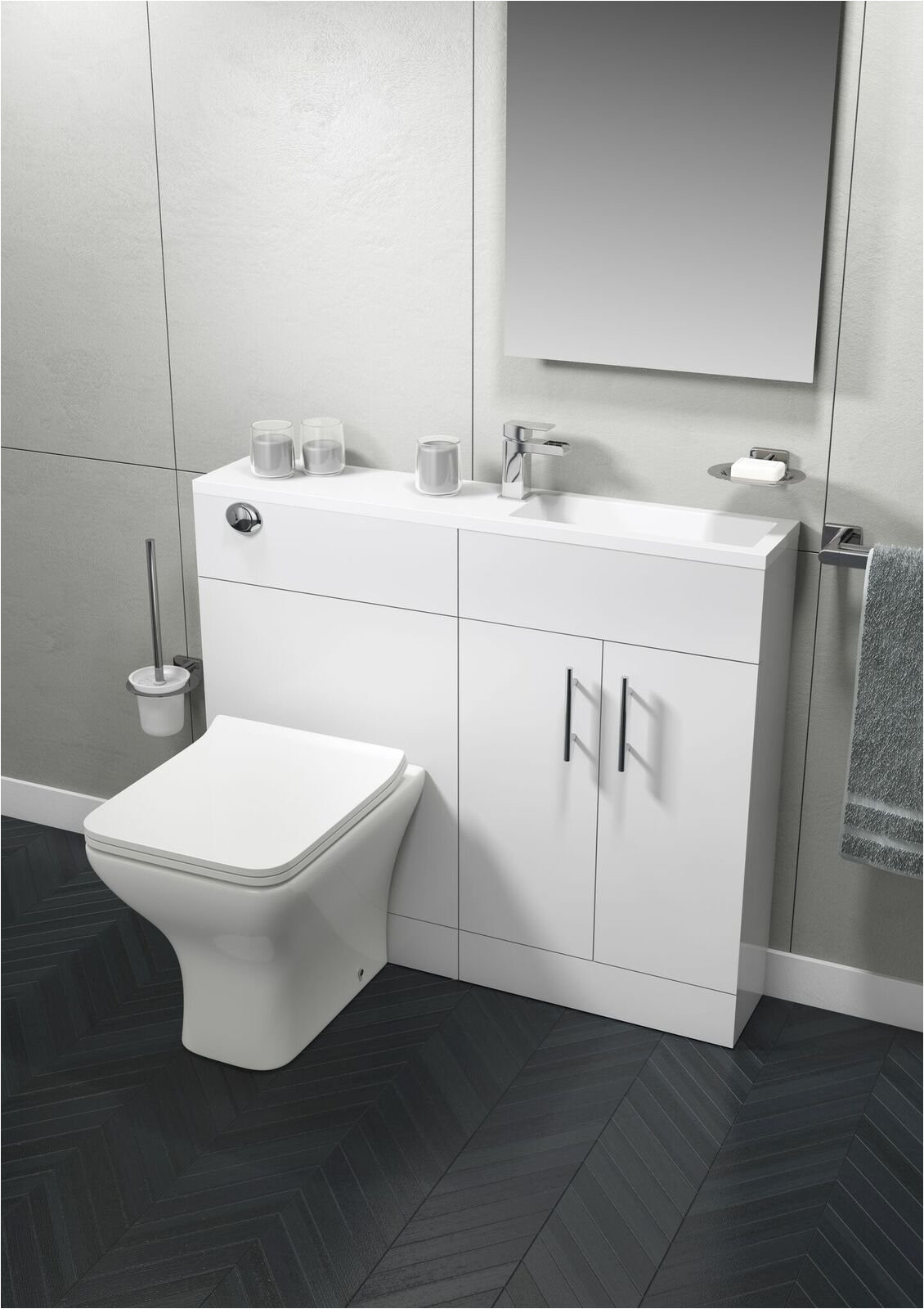 cassellie slimline combination unit with basin 995mm wide gloss white