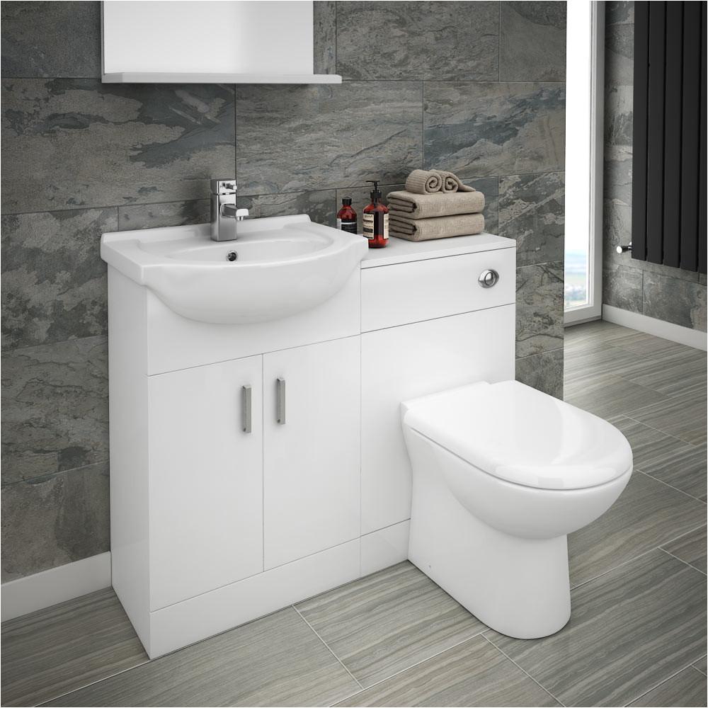 cove vanity unit cloakroom suite basin mixer tap w1050 x d300mm medium image