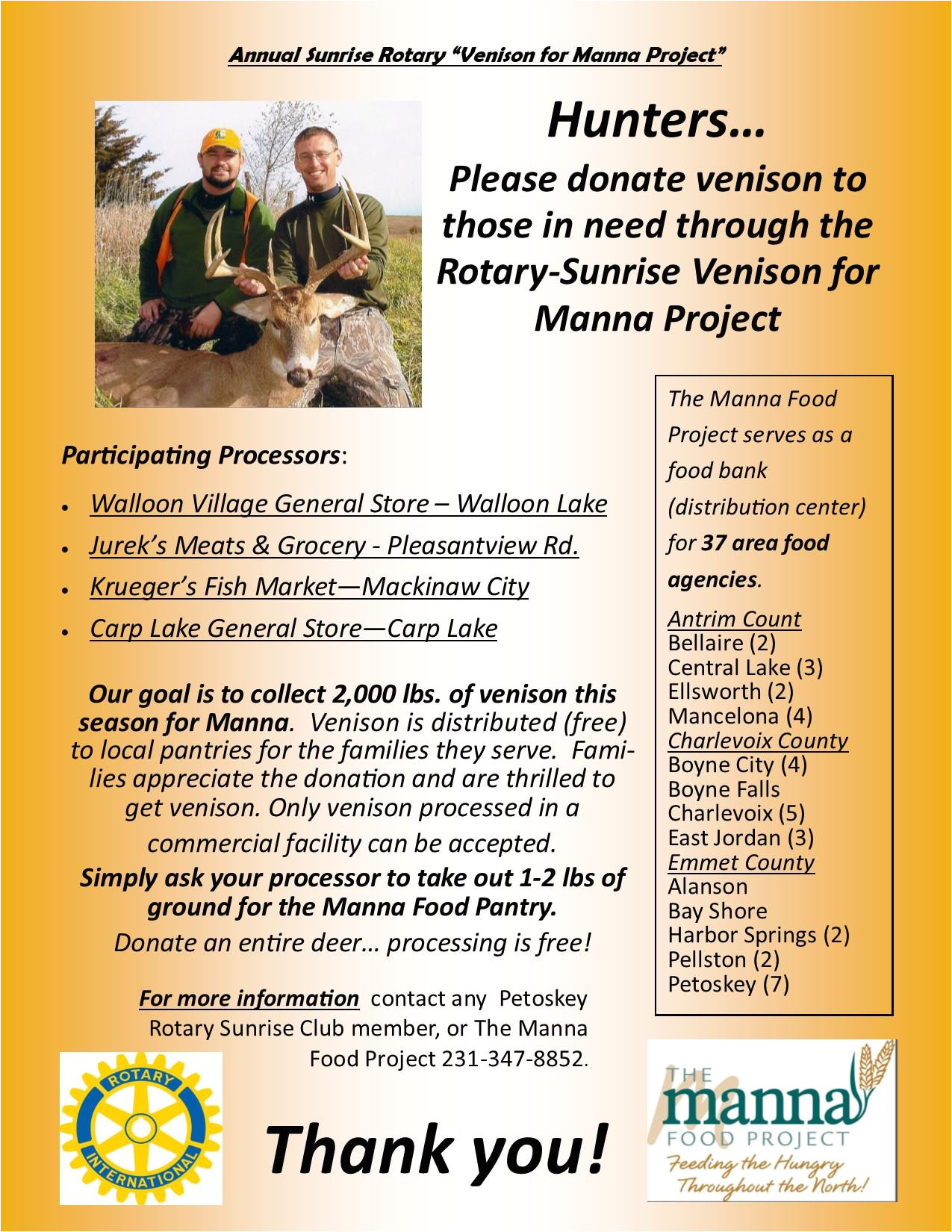 venison for manna in full swing 37 food agencies served