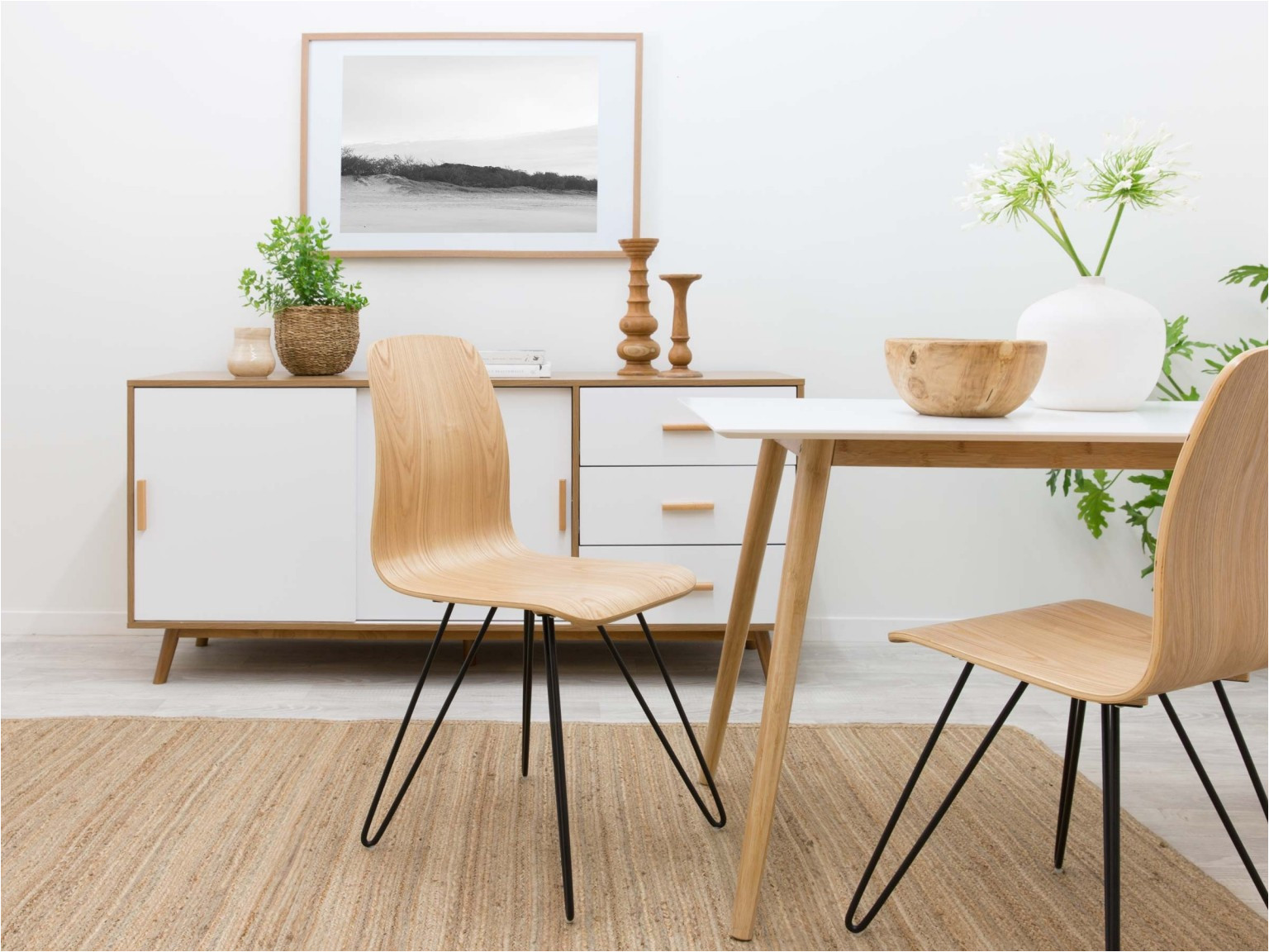 mocka enzo chair with ruby rug cena dining table and daisy buffet