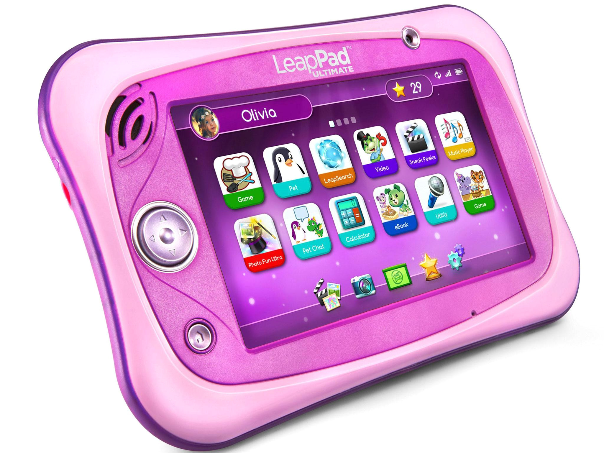 available in trademark green and now a bright bright pink version too the leappad ultimate is solid and tough with a 7 inch display like all the tablets