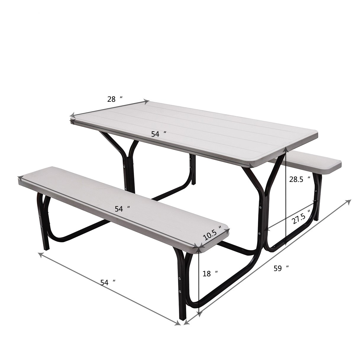 amazon com giantex picnic table bench set outdoor camping all weather metal base wood like texture backyard poolside dining party garden patio lawn deck