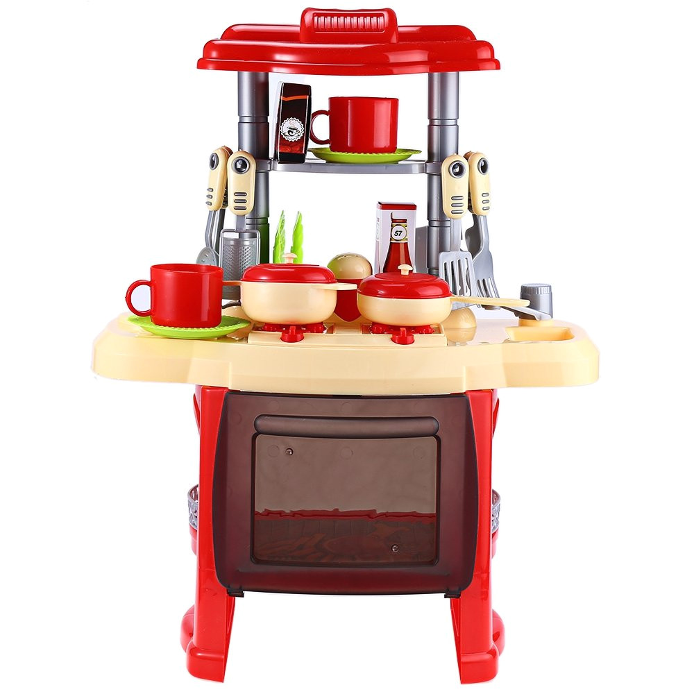 amazon com kids pretend role play toy simulation kitchen cooking cookware play house light music rose toys games