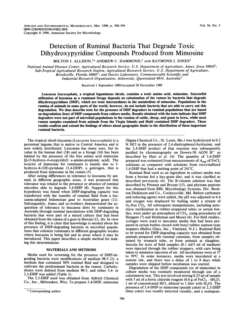 pdf detection of ruminal bacteria that degrade toxic dihydroxypyridine compounds produced from mimosine
