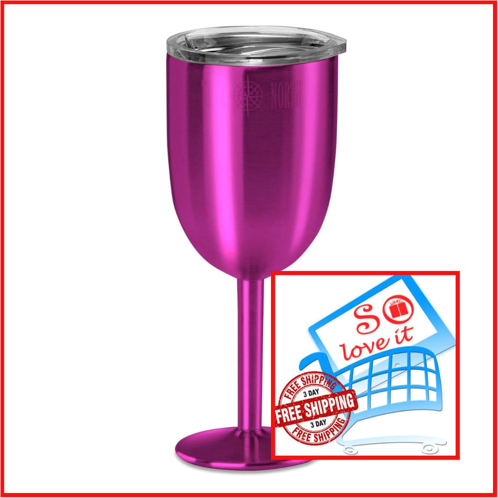 True north Coolers Wine Glass True north Insulated Wine Cup Jewel Pink Double Walled Vacuum Glass