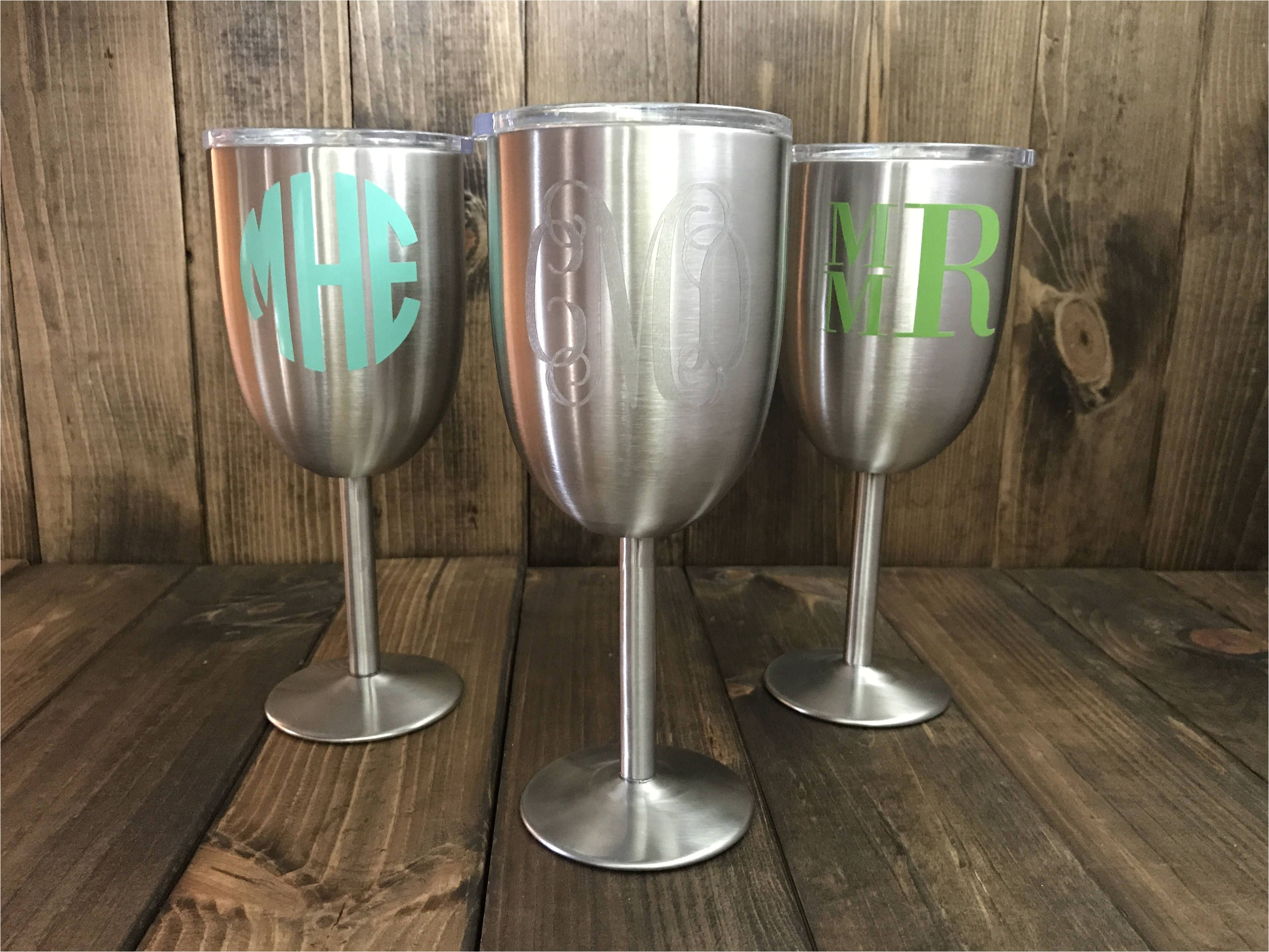 stainless steel wine glass stainless steel wine glasses monogrammed wine glass monogrammed tumbler