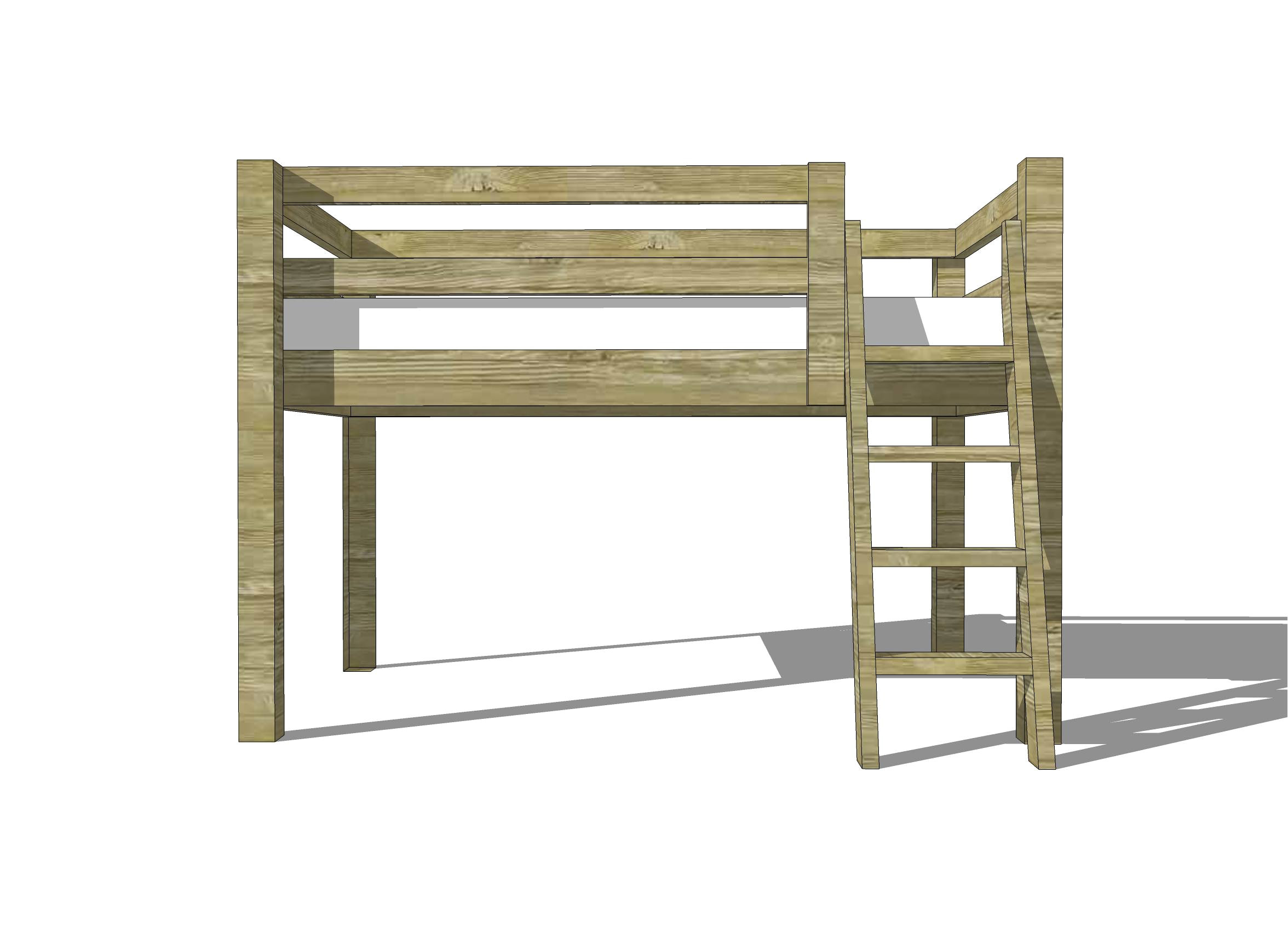 a simple wooden loft bed