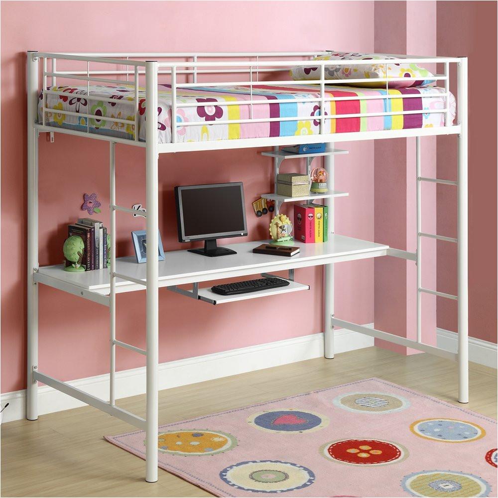 image of kids bunk beds with desk below