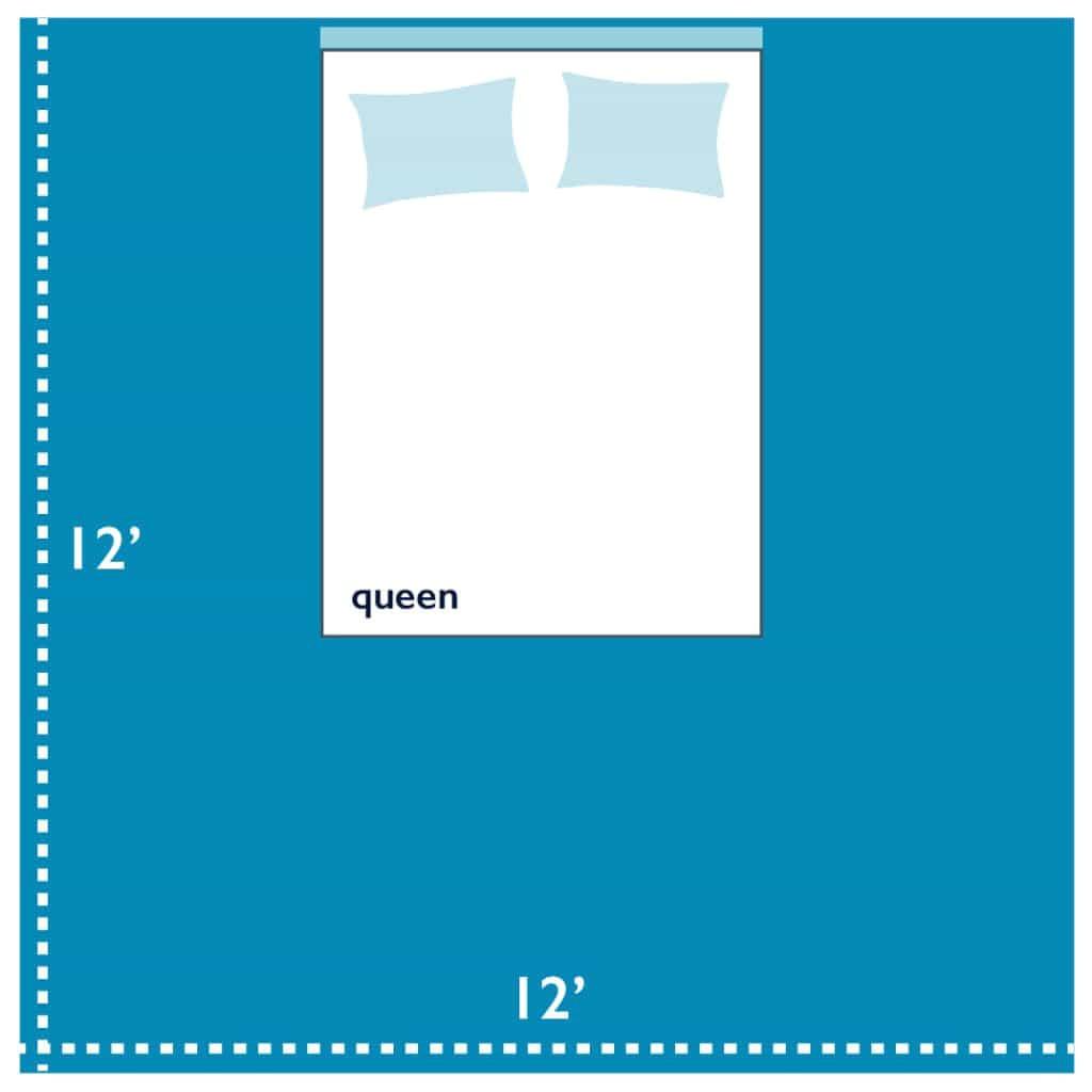 queen size bed in 12 by 12 bedroom