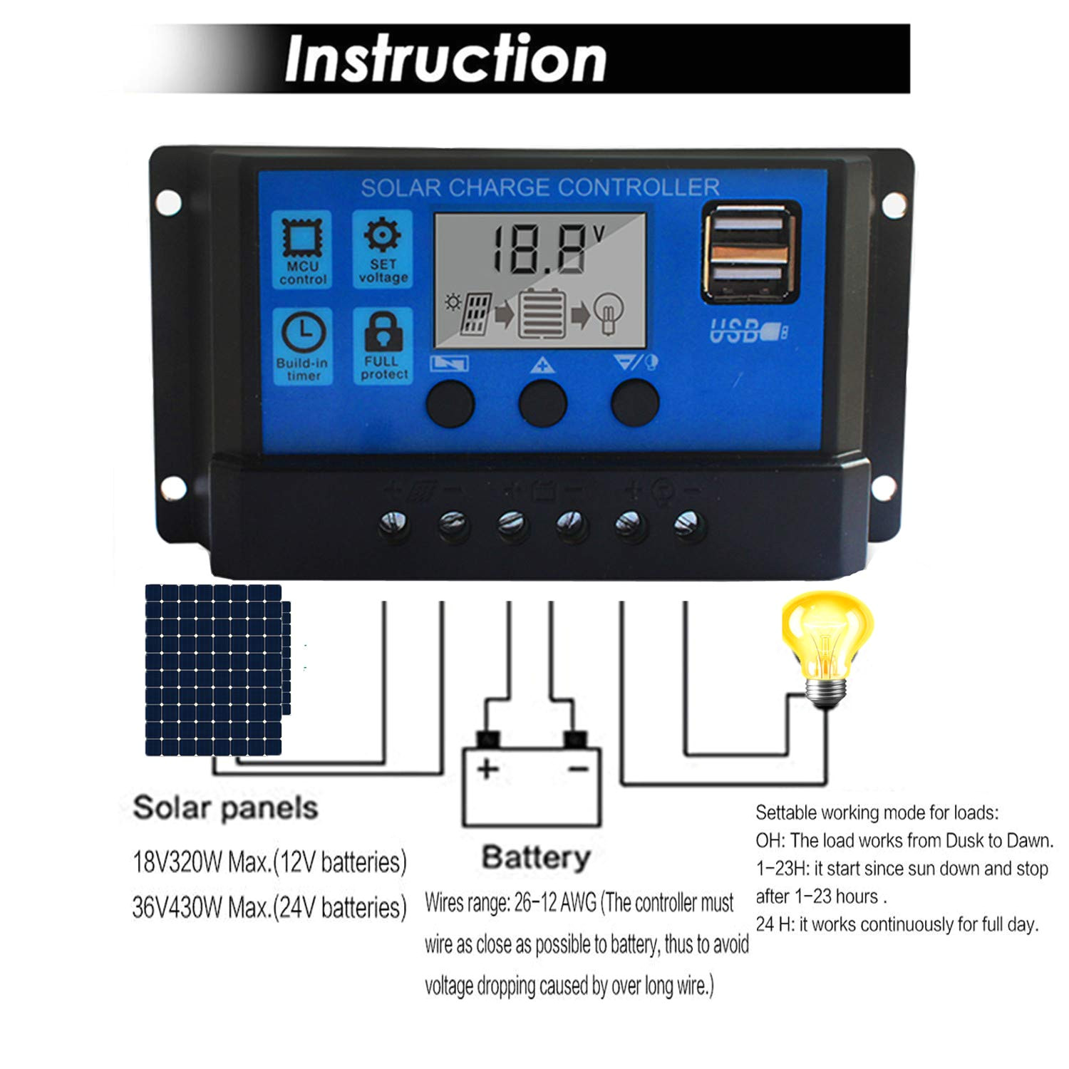 amazon com solar charge controller 20a solar panel battery controller 12v 24v pwm solar controller intelligent regulator adjustable lcd display with dual