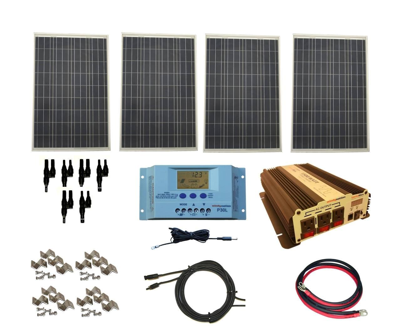 amazon com windynation complete 400 watt solar panel kit with 1500 watt vertamax power inverter rv boat off grid 12 volt battery garden outdoor