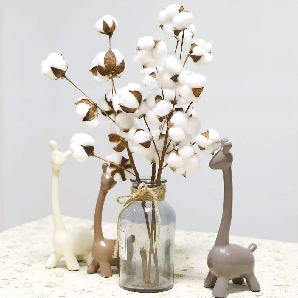 naturally dried cotton stems farmhouse artificial flower filler floral decor artificial flowers garden decoration fake flore in artificial dried flowers