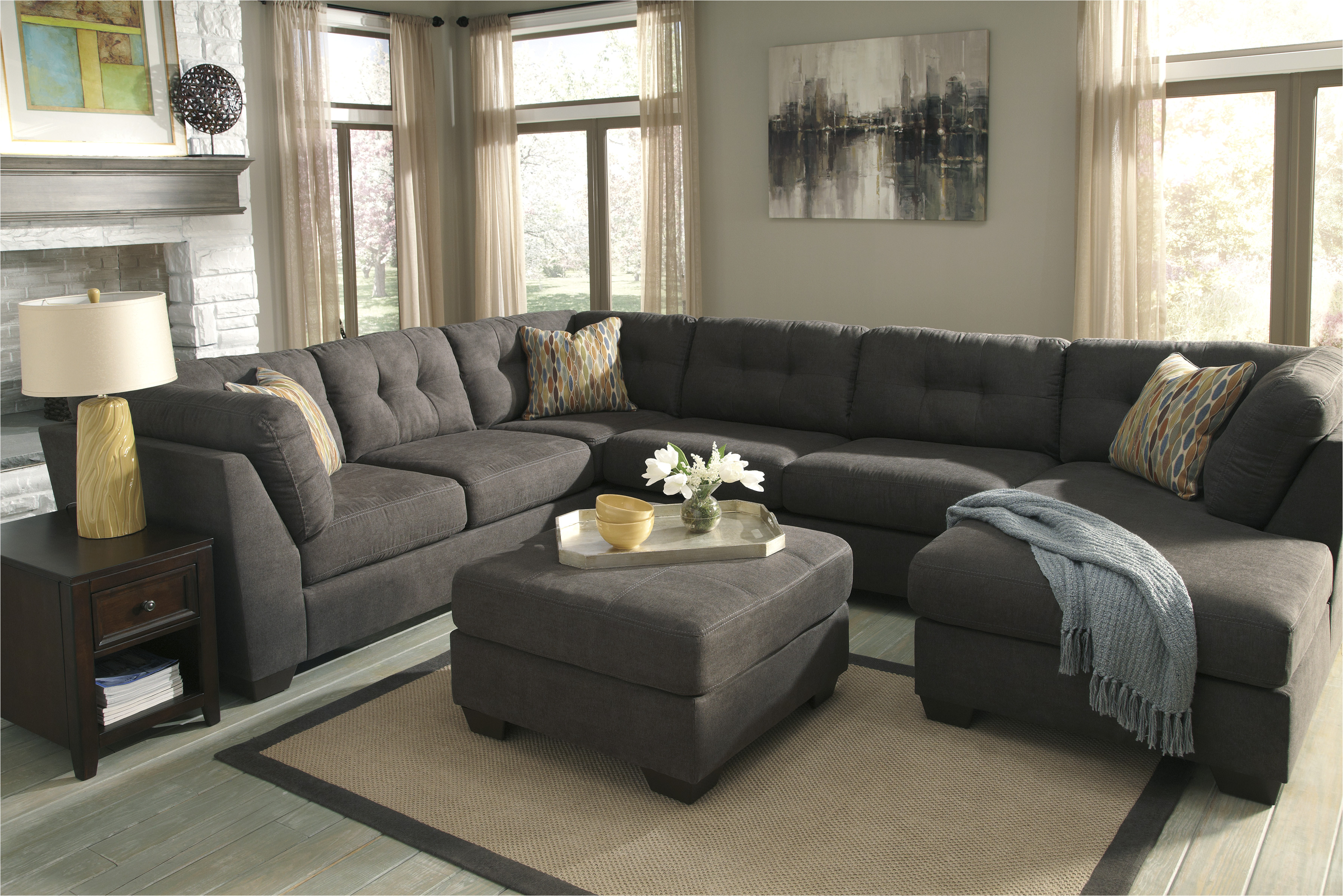 delta city sectional ashley steel sofa with ottoman jpg