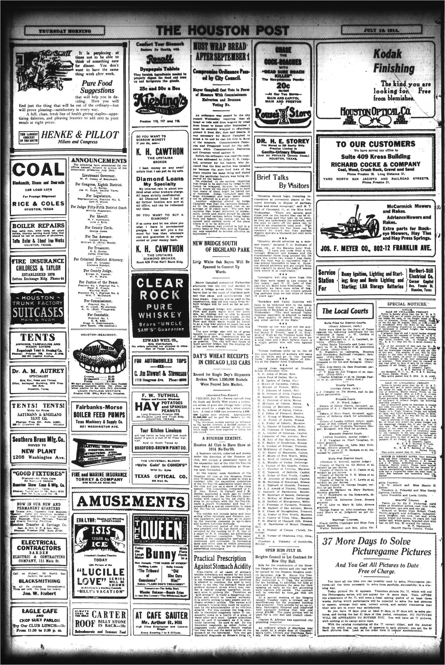 the houston post houston tex vol 29 no 103 ed 1 thursday july 16 1914 page 16 of 16 the portal to texas history