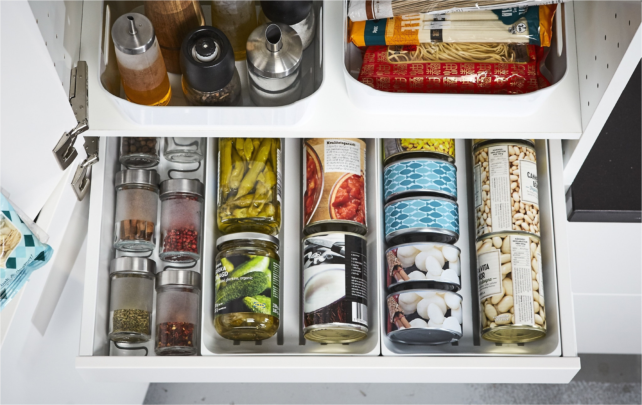 ikea maximera white kitchen pantry drawer can keep your cans tins and spices organised