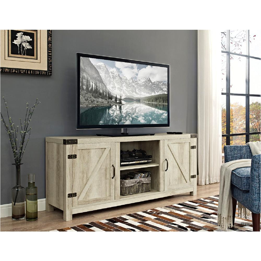 58 in barn door tv stand with side doors white oak