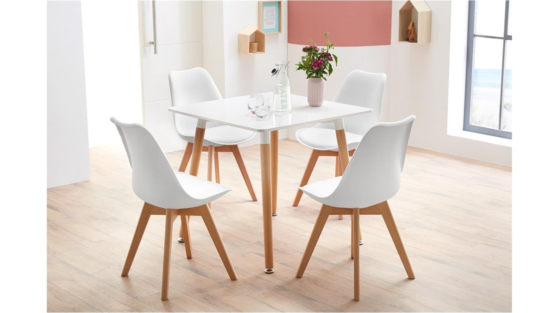 essgruppe mit tisch gronland 80x80 und 4 stuhle borkum weia white dining chairs dining table