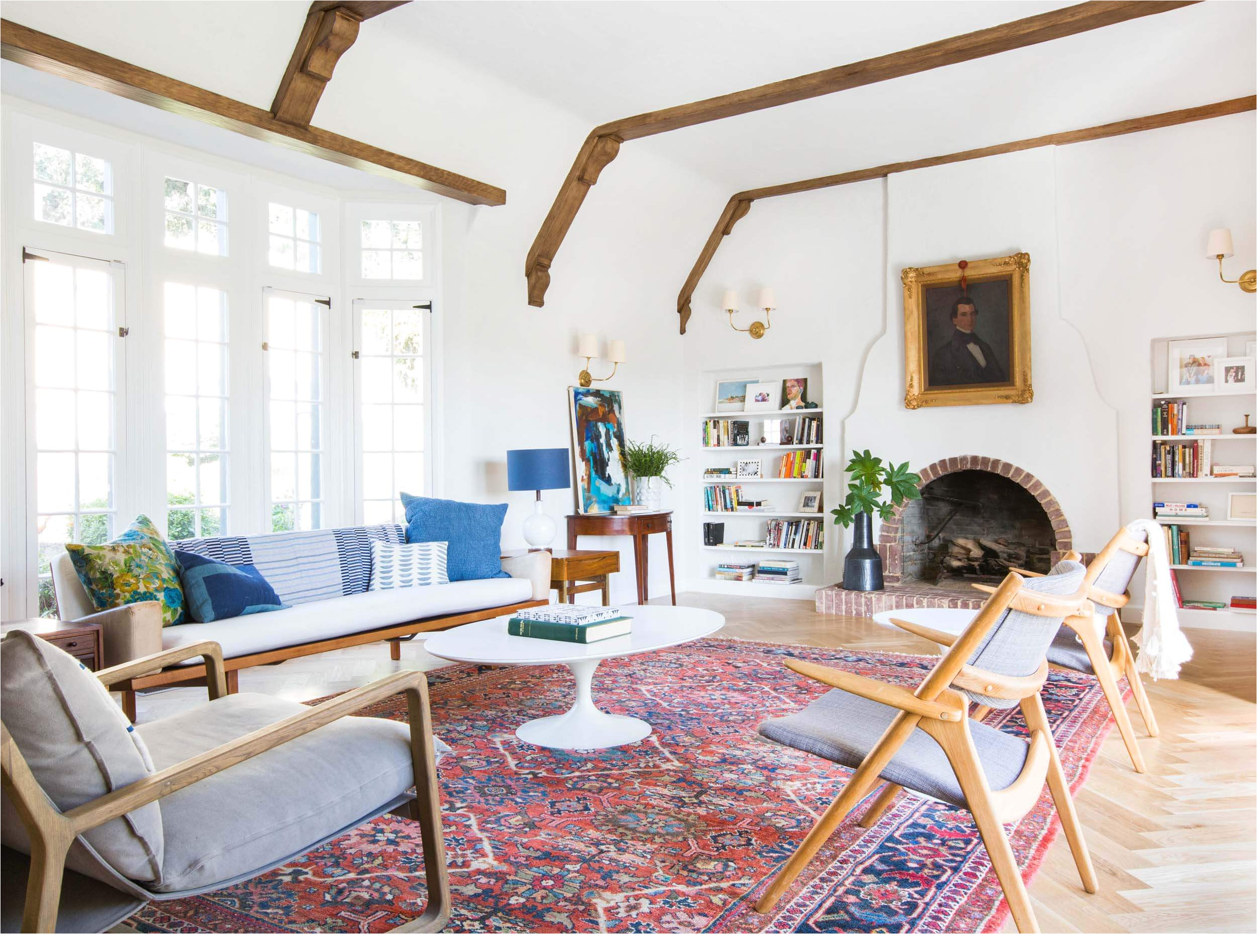 emily henderson home livingroom design wood naturally refinished beams 1