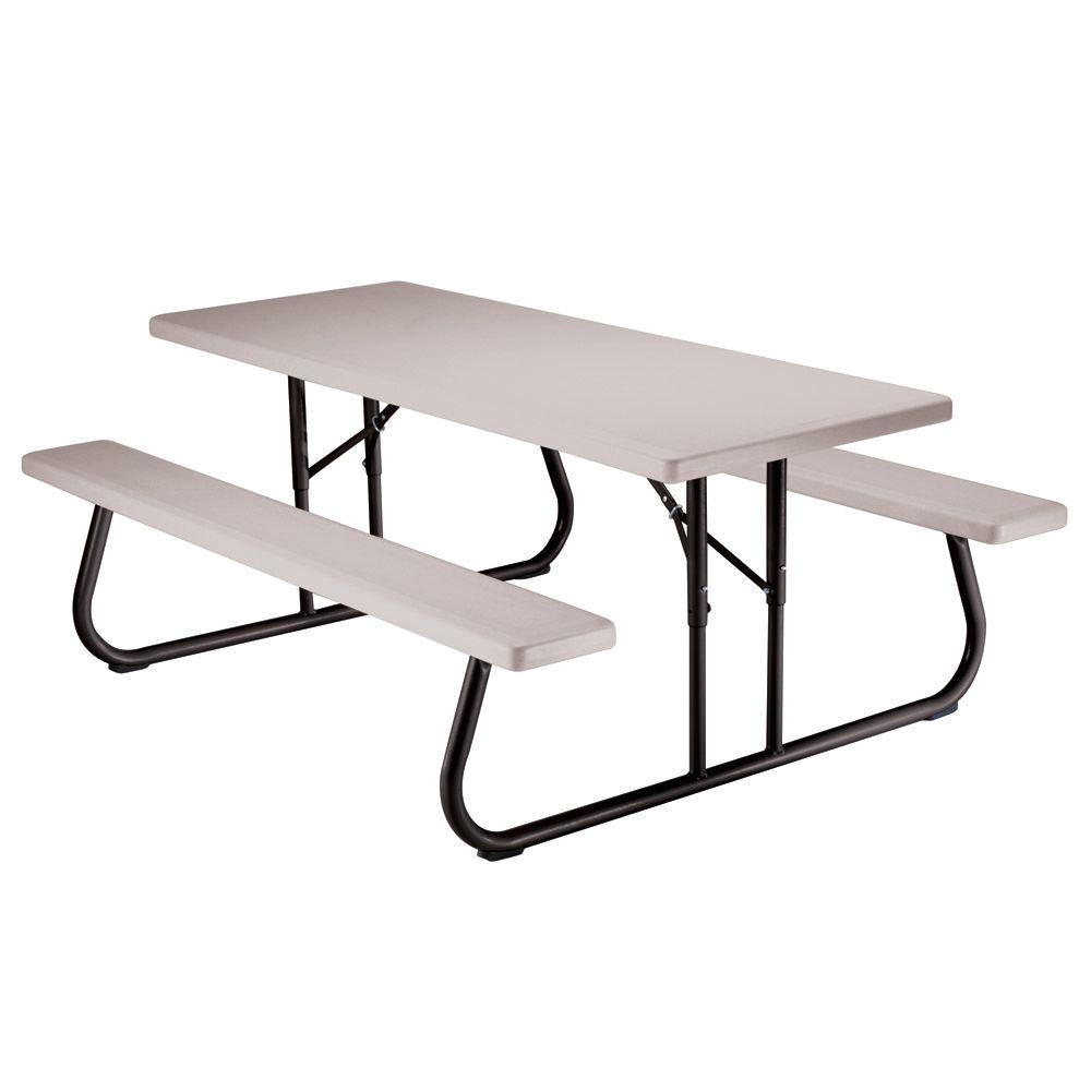6 ft folding picnic table with benches