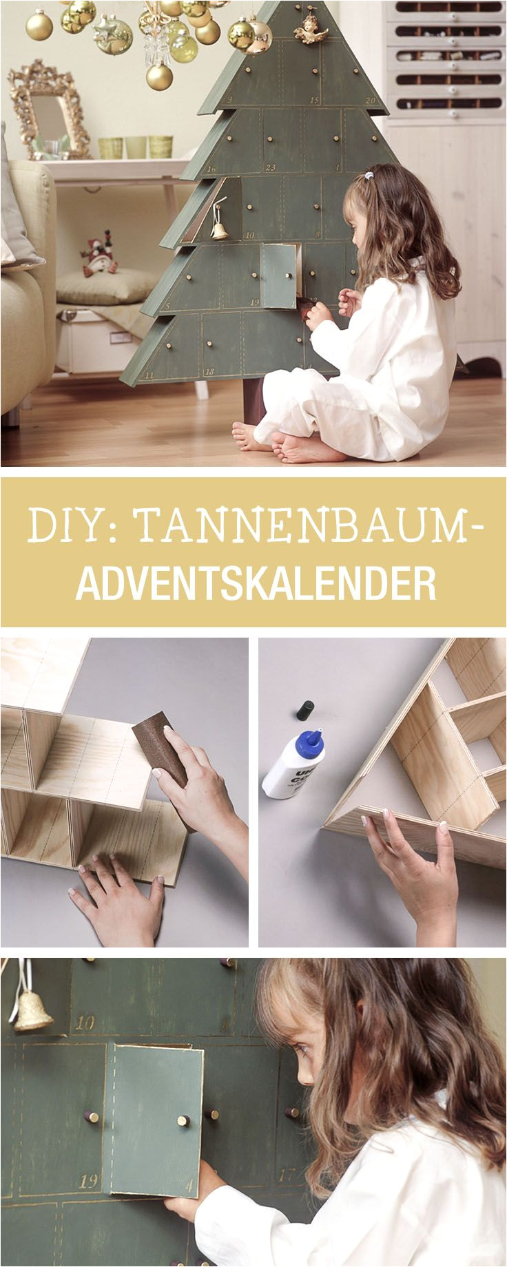 adventskalender aus holz selberbauen wooden advents calendar in shape of a tree via dawanda