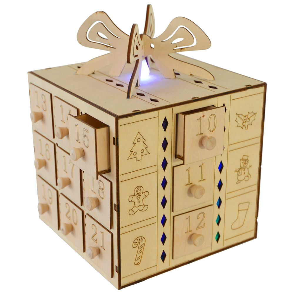 multi led light up gift box drawers wooden advent calendar decoration thumbnail 1 more