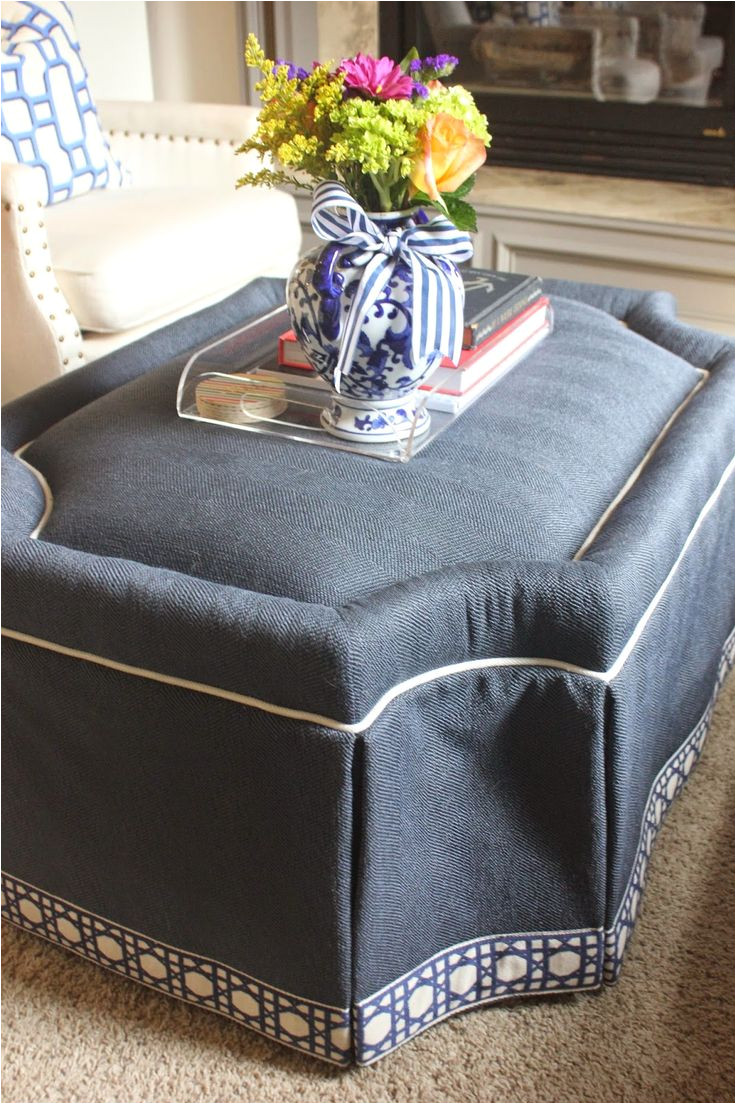 living room tour lauren navy ottoman cr laine fabric with fretwork trim