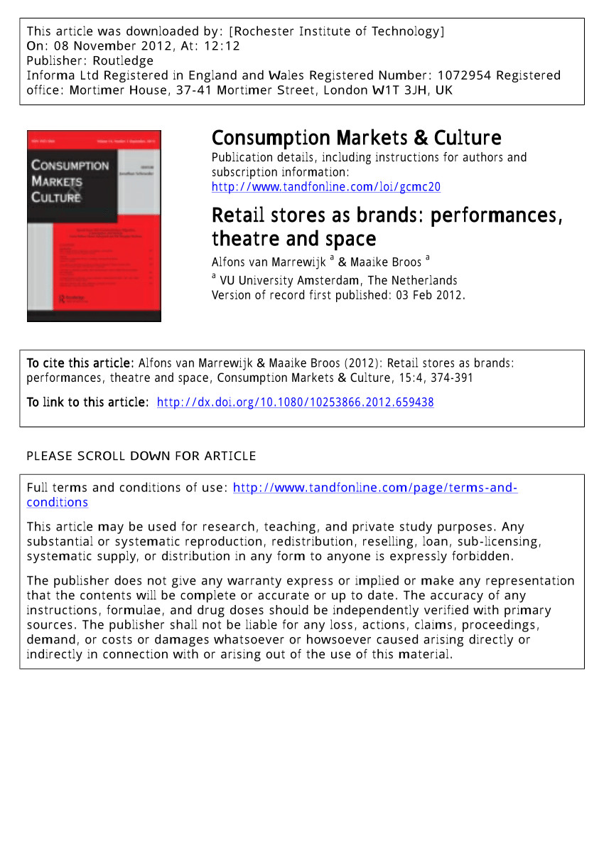 pdf retail stores as brands performances theatre and space