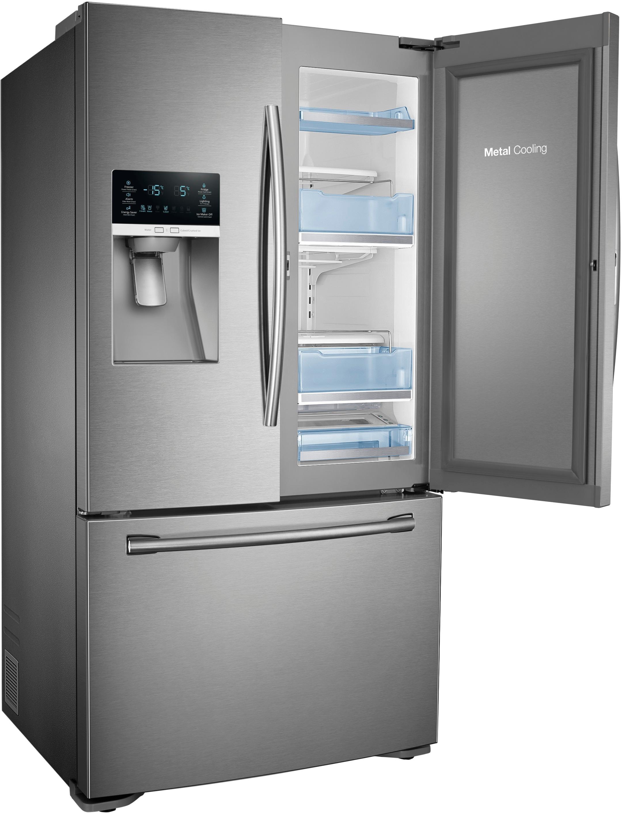 counter depth 3 door food showcase refrigerator silver rf23htedbsr best buy