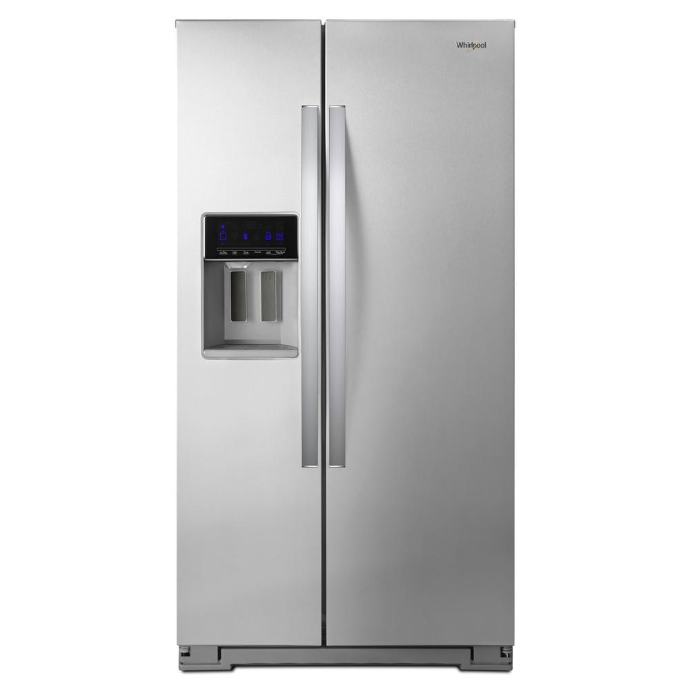 side by side refrigerator in fingerprint resistant stainless steel counter