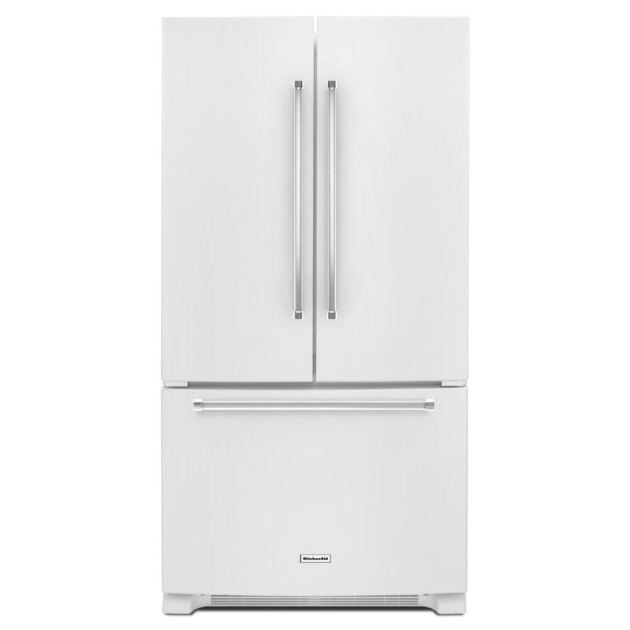 shop kitchenaid 20 cu ft counter depth french door refrigerator with single ice maker white energy star at lowes com