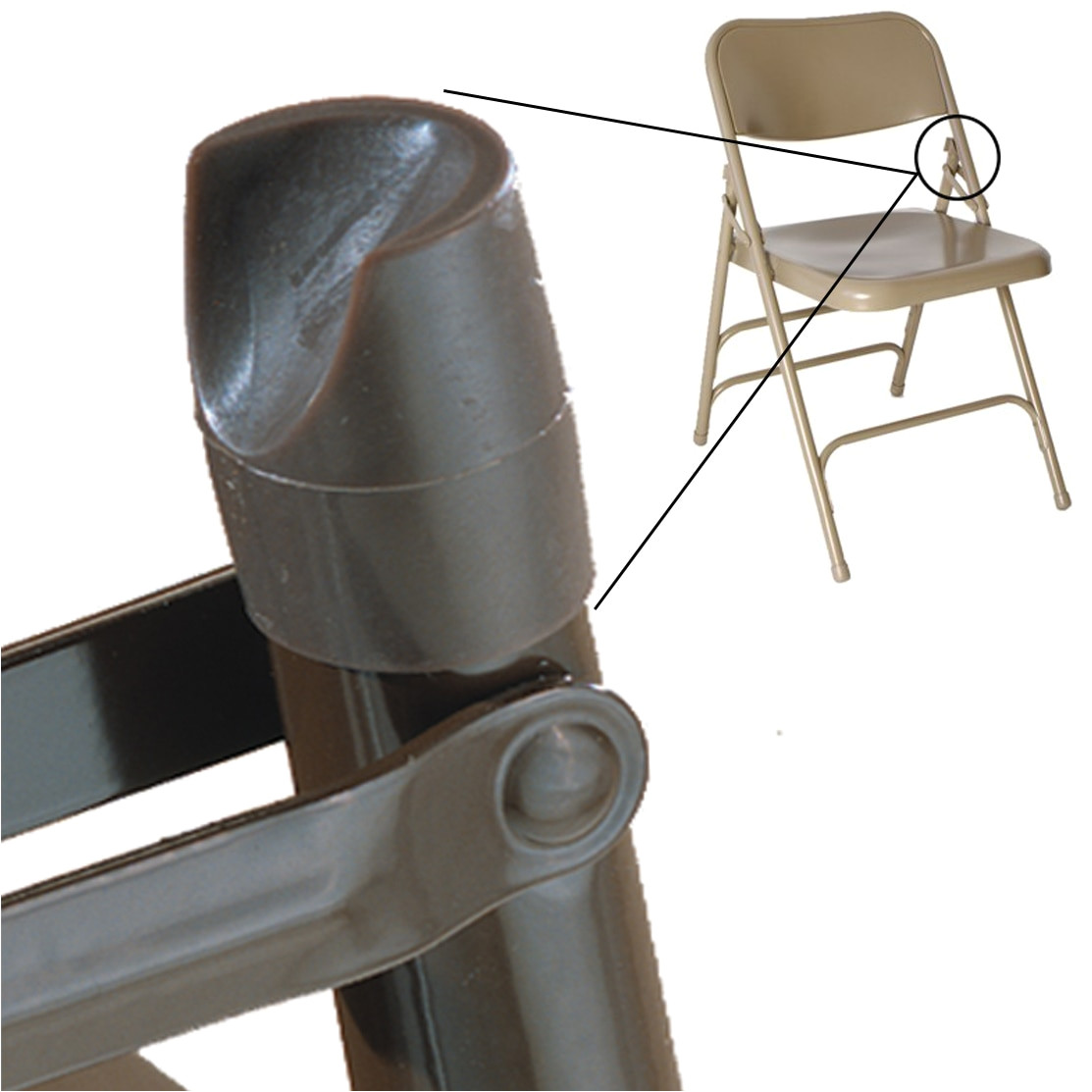 individual pieces plastic stability caps for metal and padded folding chairs fits 7