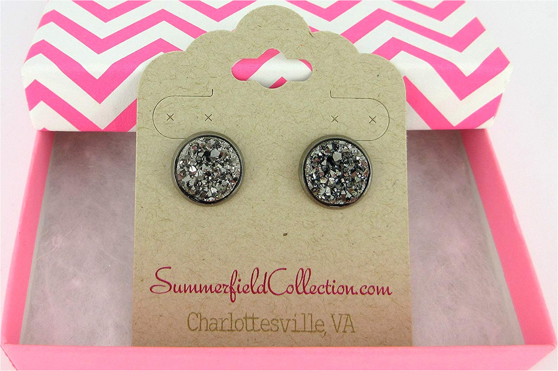 amazon com hematite tone gunmetal gray faux druzy stone stud earrings 12mm handmade
