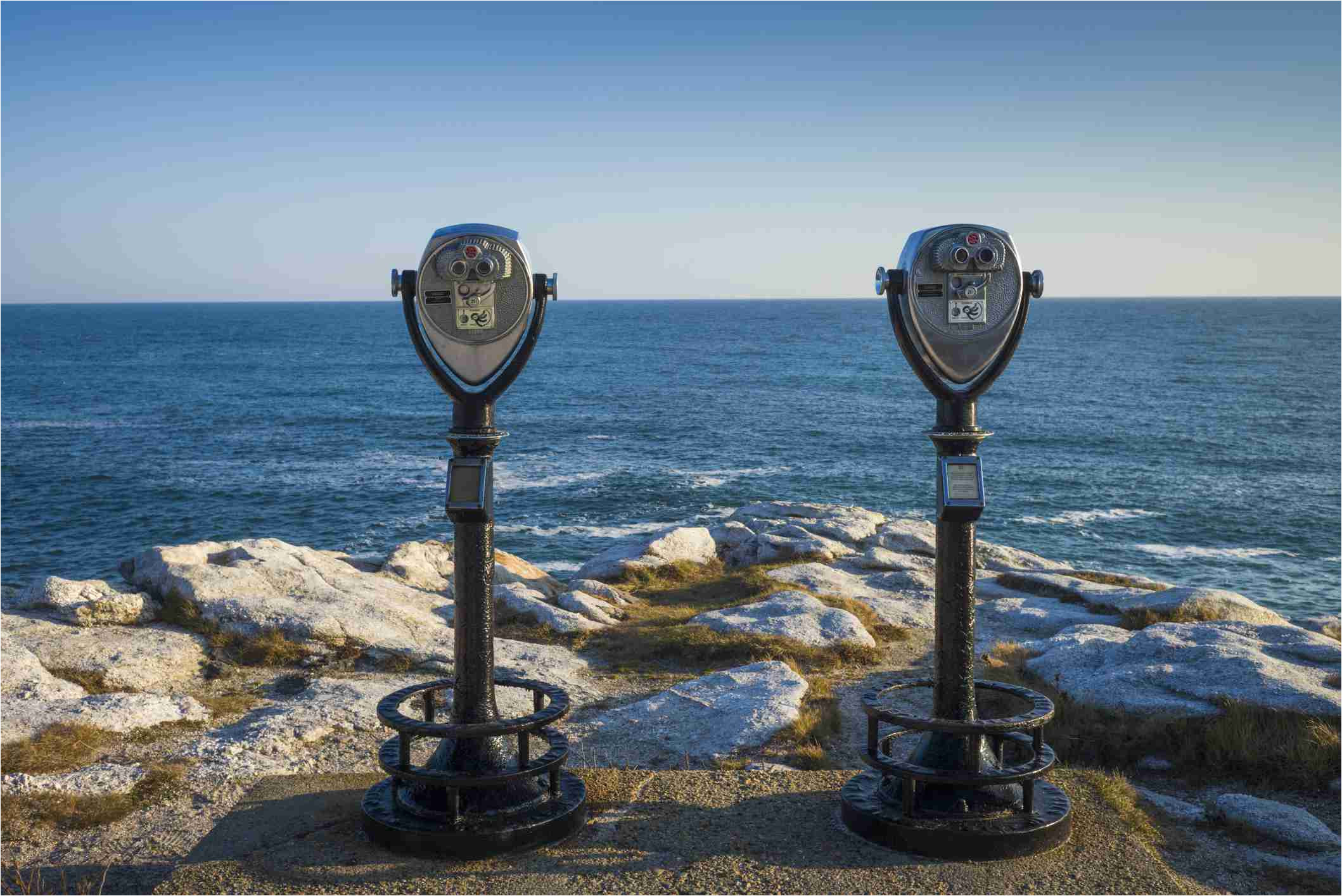 usa north america maine reid state park coin operated binoculars against sea