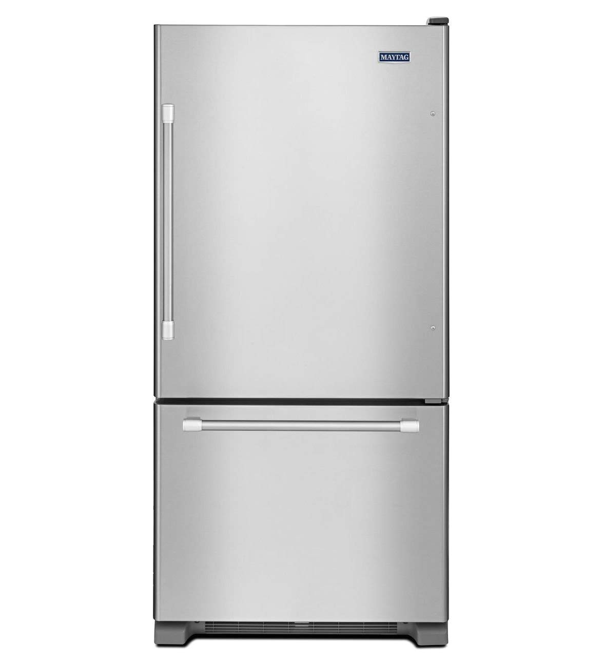 this bottom freezer refrigerator is tough enough to stand up to nearly any kitchen use and boasts strong stainless steel handles and is energy star rated to