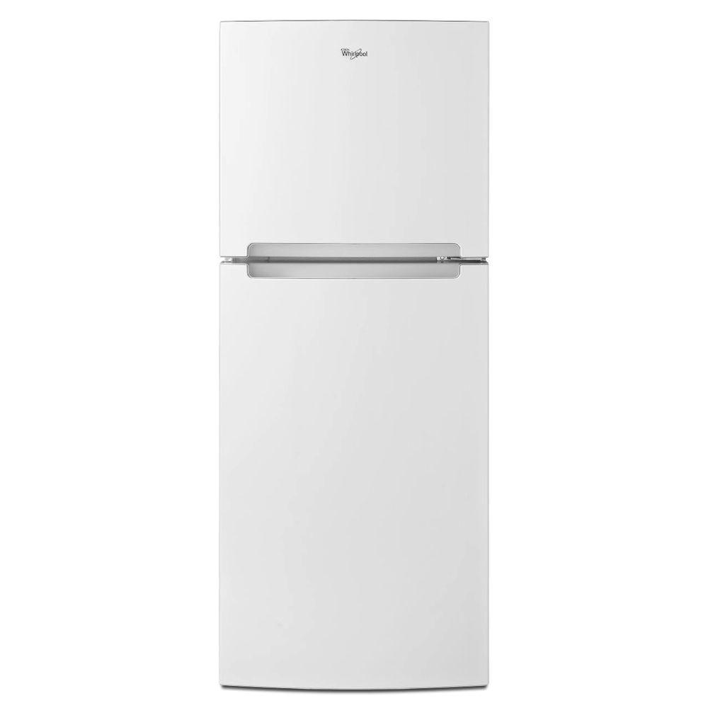 top freezer refrigerator in white