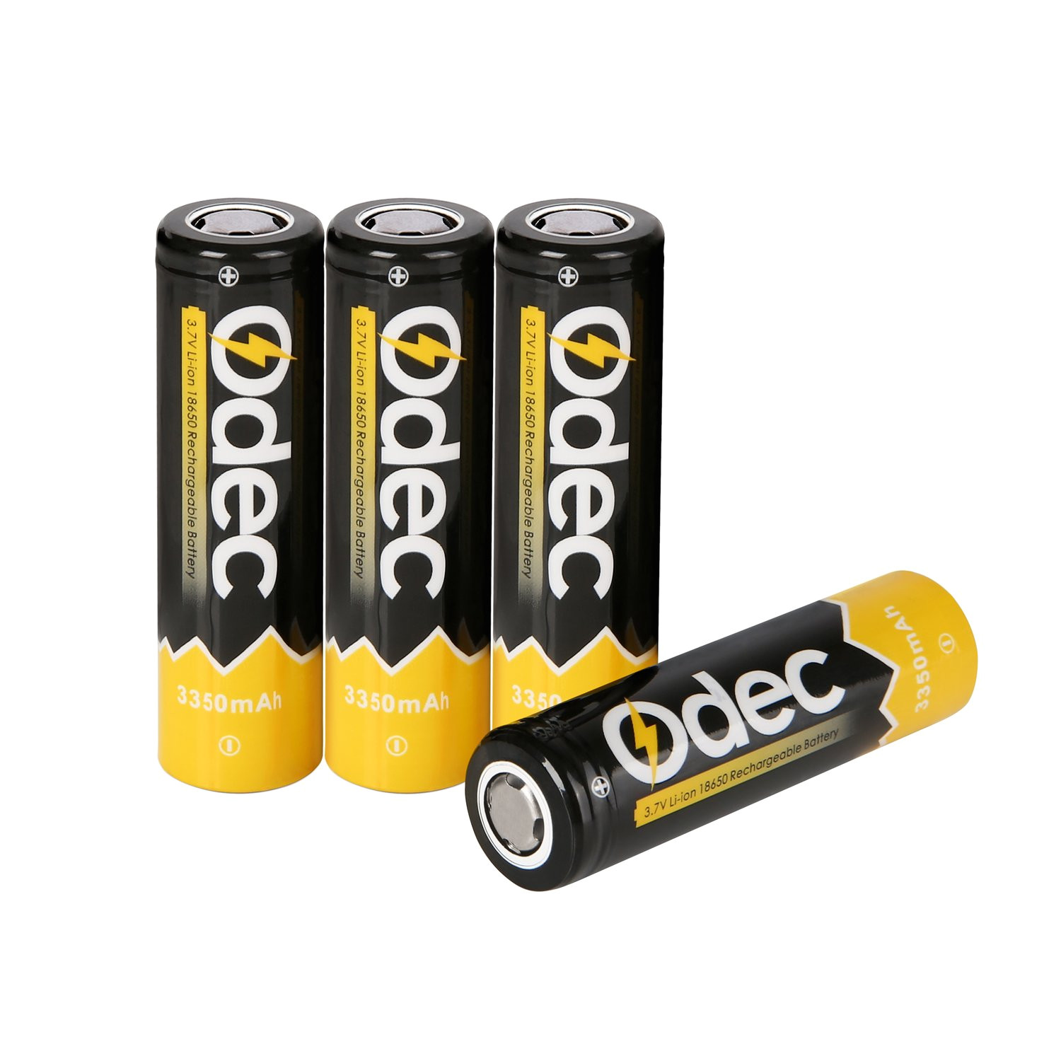 amazon com odec 18650 battery 3350mah li ion rechargeable battery flat top with battery case 4 pack health personal care