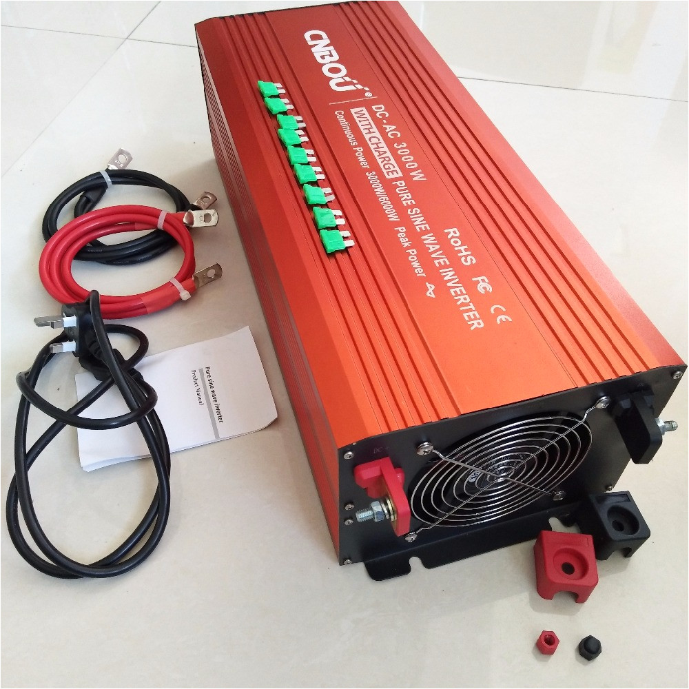 cnbou off grid type ups pure sine wave power inverter 3000w with built in battery charger dc 12v to 220v 50hz uk output socket in inverters converters