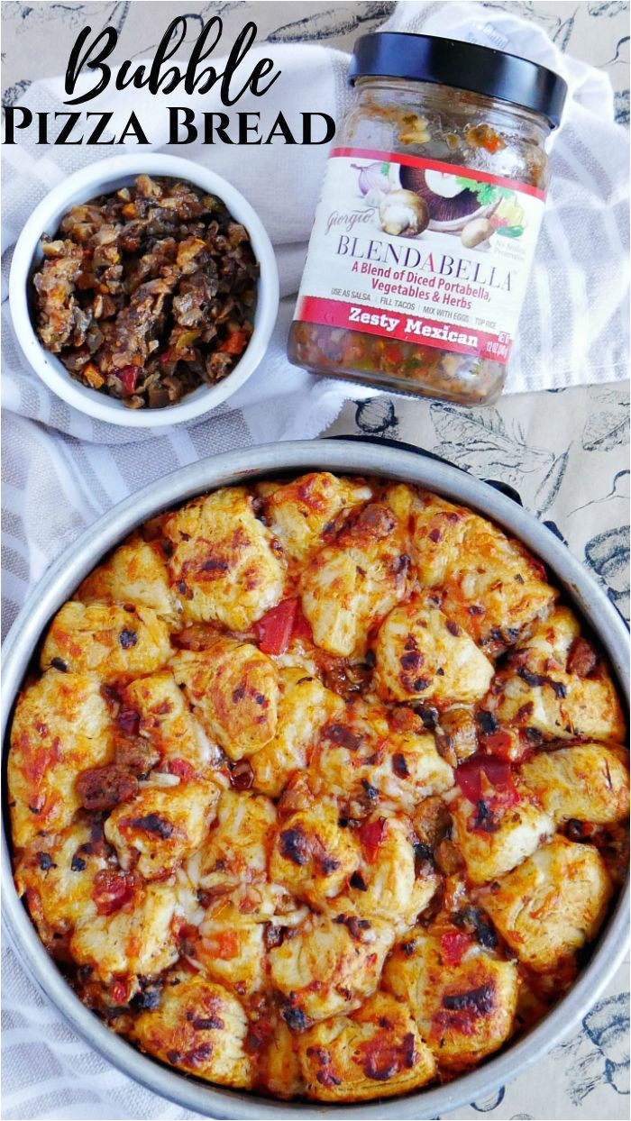 pizza bubble bread with zesty mexican blendabella recipe best comfort foods pinterest