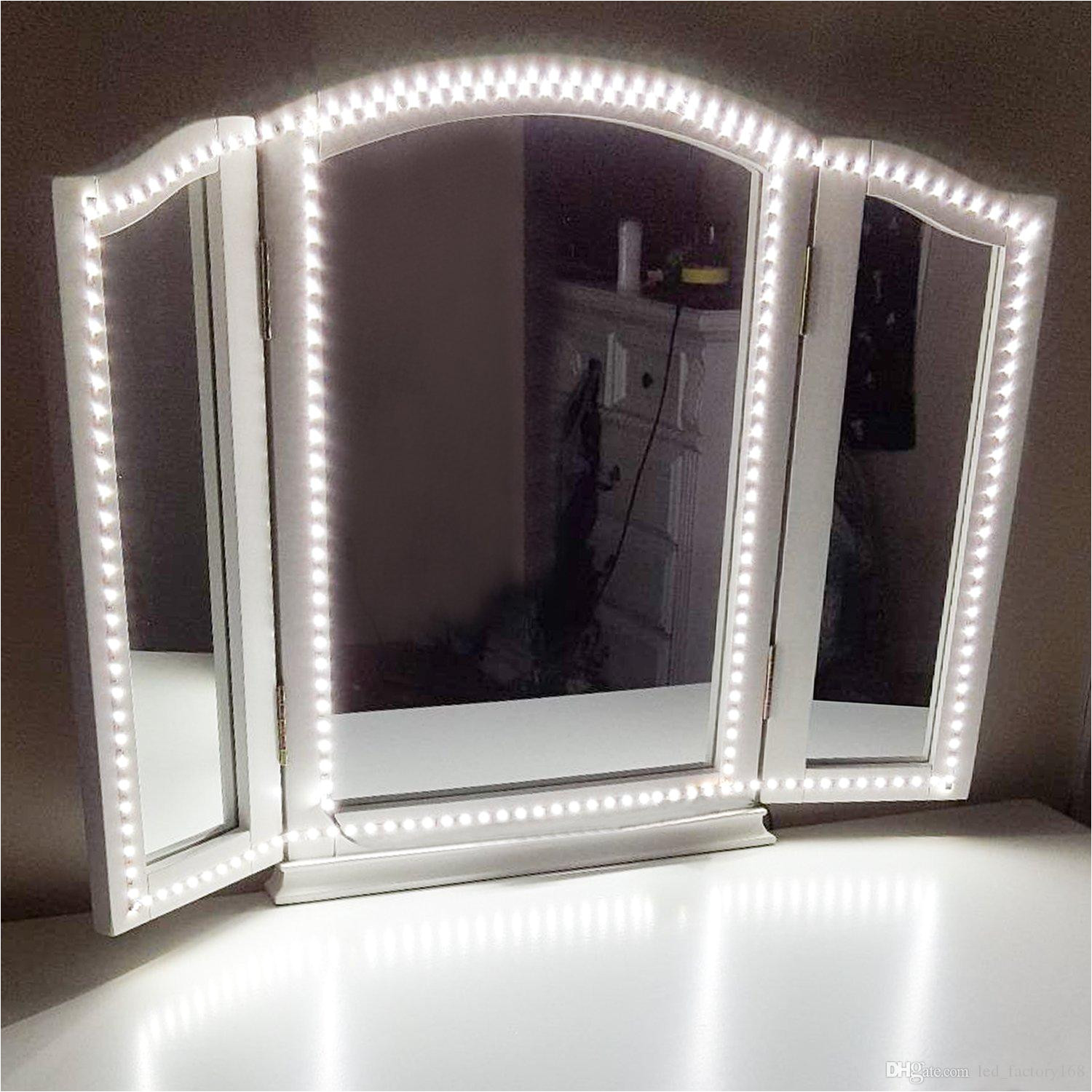 2019 led vanity mirror lights kit for makeup dressing table vanity set flexible led light strip 6000k daylight white christmas holiday home kitch from