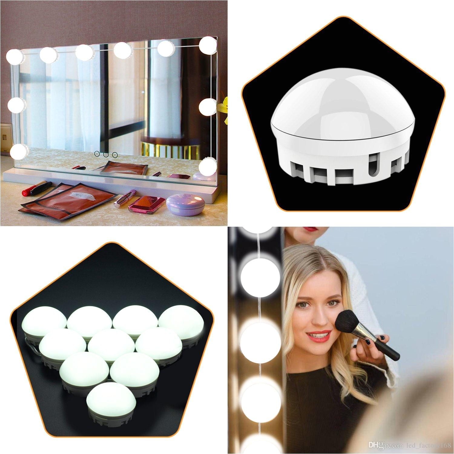 2019 vanity makeup lights hollywood style led vanity mirror lamp kit with usb adapter dimmable light bulbs adjustable brightness for makeup dress from